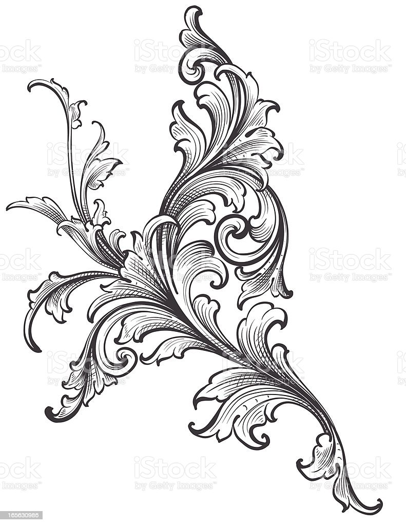 Ornamental Scroll Growth vector art illustration