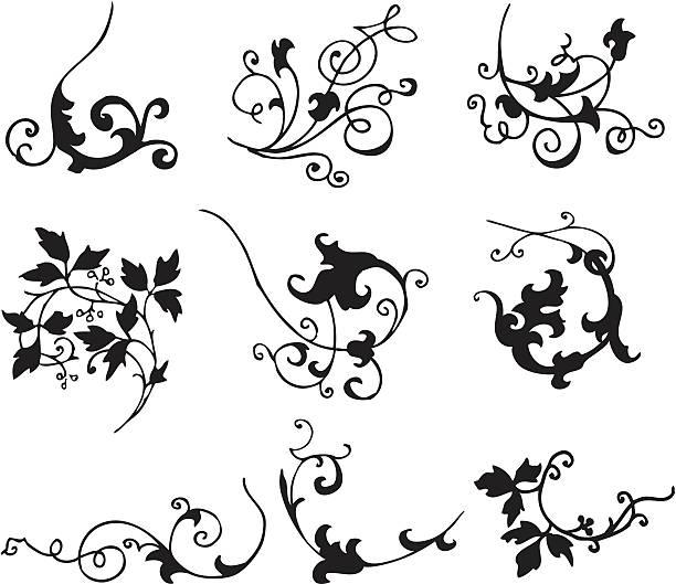 ornamental scroll style design elements vector art illustration