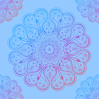 Ornamental seamless pattern with mandala. Vintage, paisley elements. Ornament. Traditional, Ethnic, Turkish, Indian motifs. Great for fabric and textile, wallpaper, packaging or any desired idea