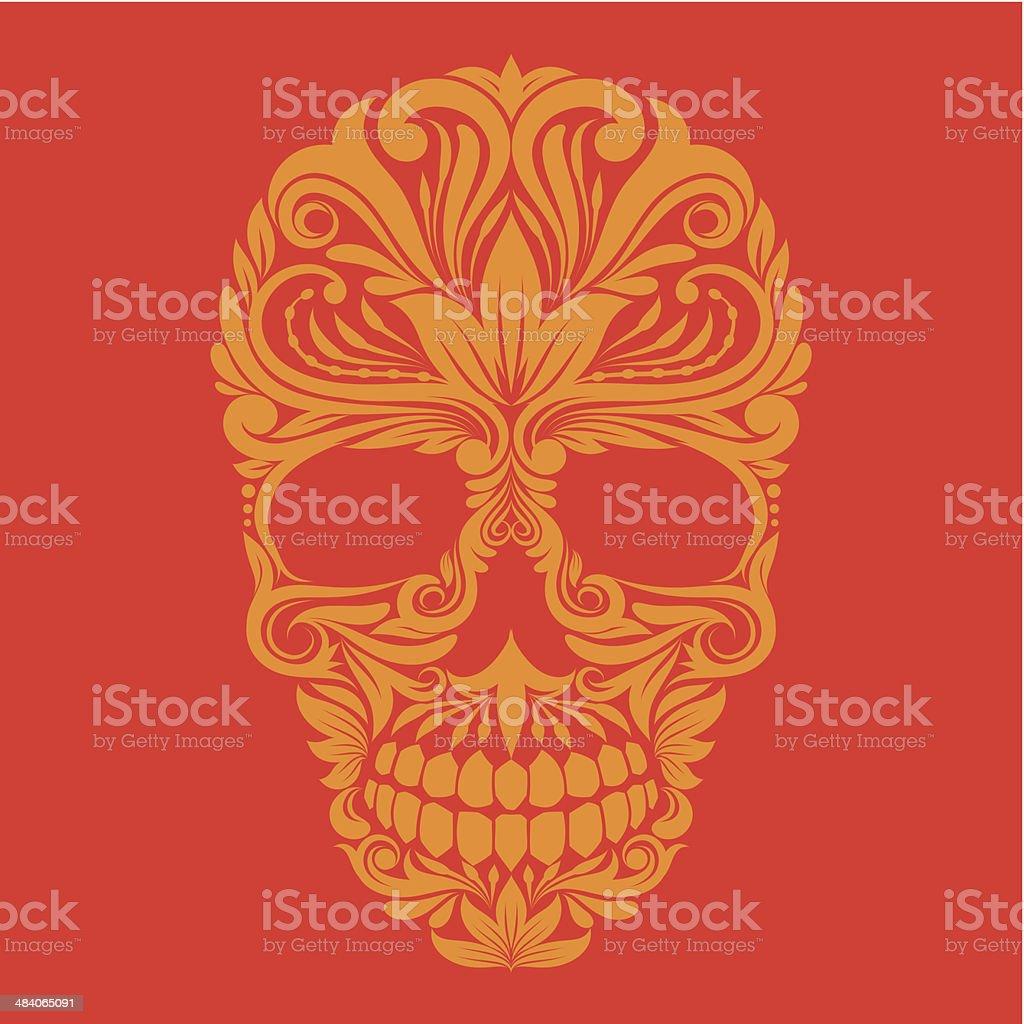 Ornamental Skull vector art illustration