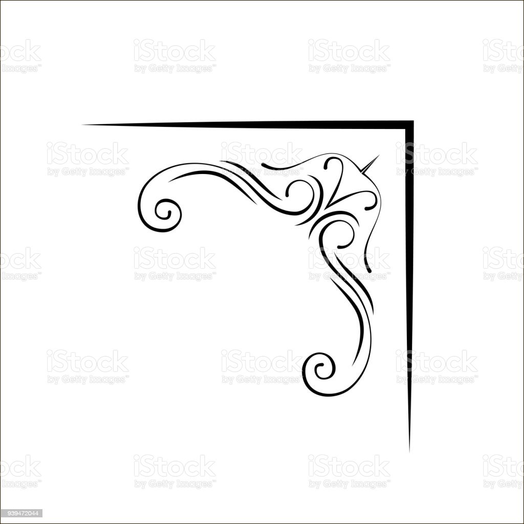 Ornamental Swirly Corner Page Decoration Filigree Corner Design Element  Vector Stock Illustration - Download Image Now