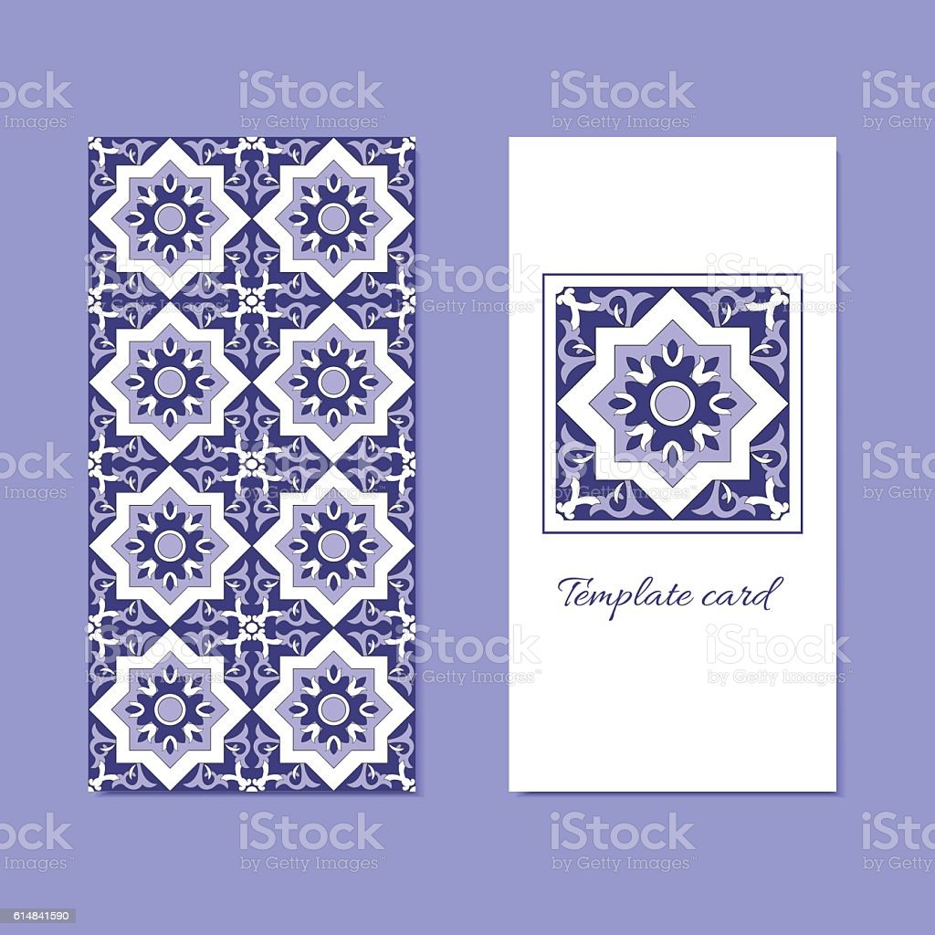 Ornamental template layout vector and geometric tiles pattern vector art illustration