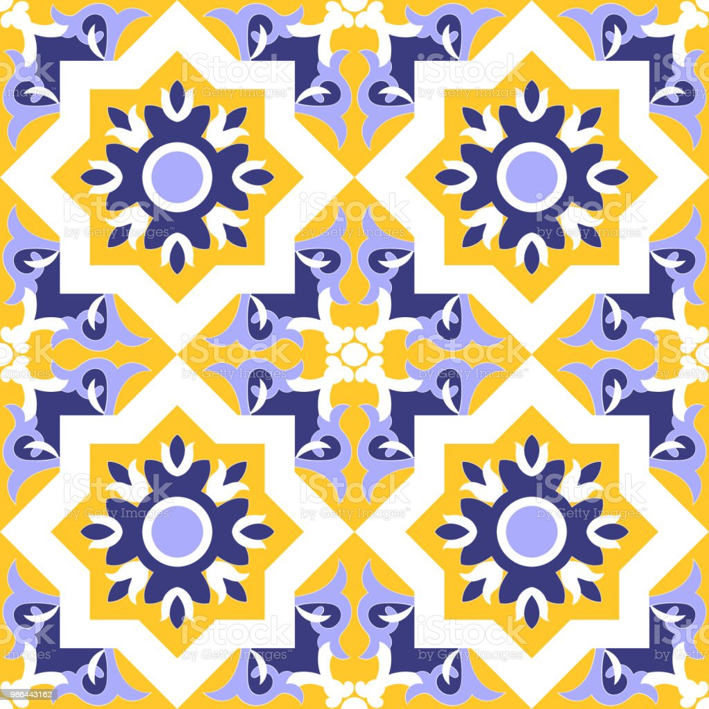 Ornamental Tile Pattern Vector Seamless Blue Yellow And White Colors ...