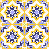 Ornamental tile pattern vector seamless blue, yellow and white colors. Azulejos portuguese, spanish, moroccan, mexican talavera, italian sicily or moorish arabic tiles design with flowers motifs.