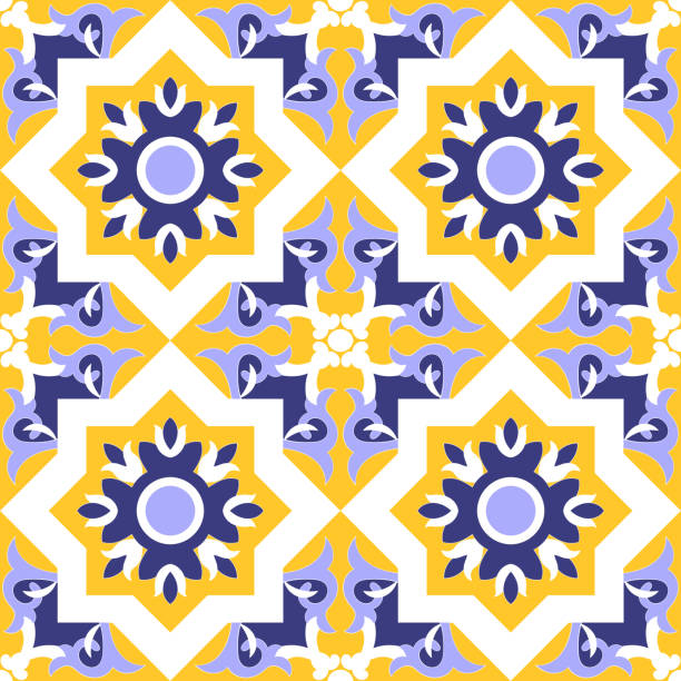 ornamental tile pattern vector seamless blue, yellow and white colors. azulejos portuguese, spanish, moroccan, mexican talavera, italian sicily or moorish arabic tiles design with flowers motifs. - sicily stock illustrations