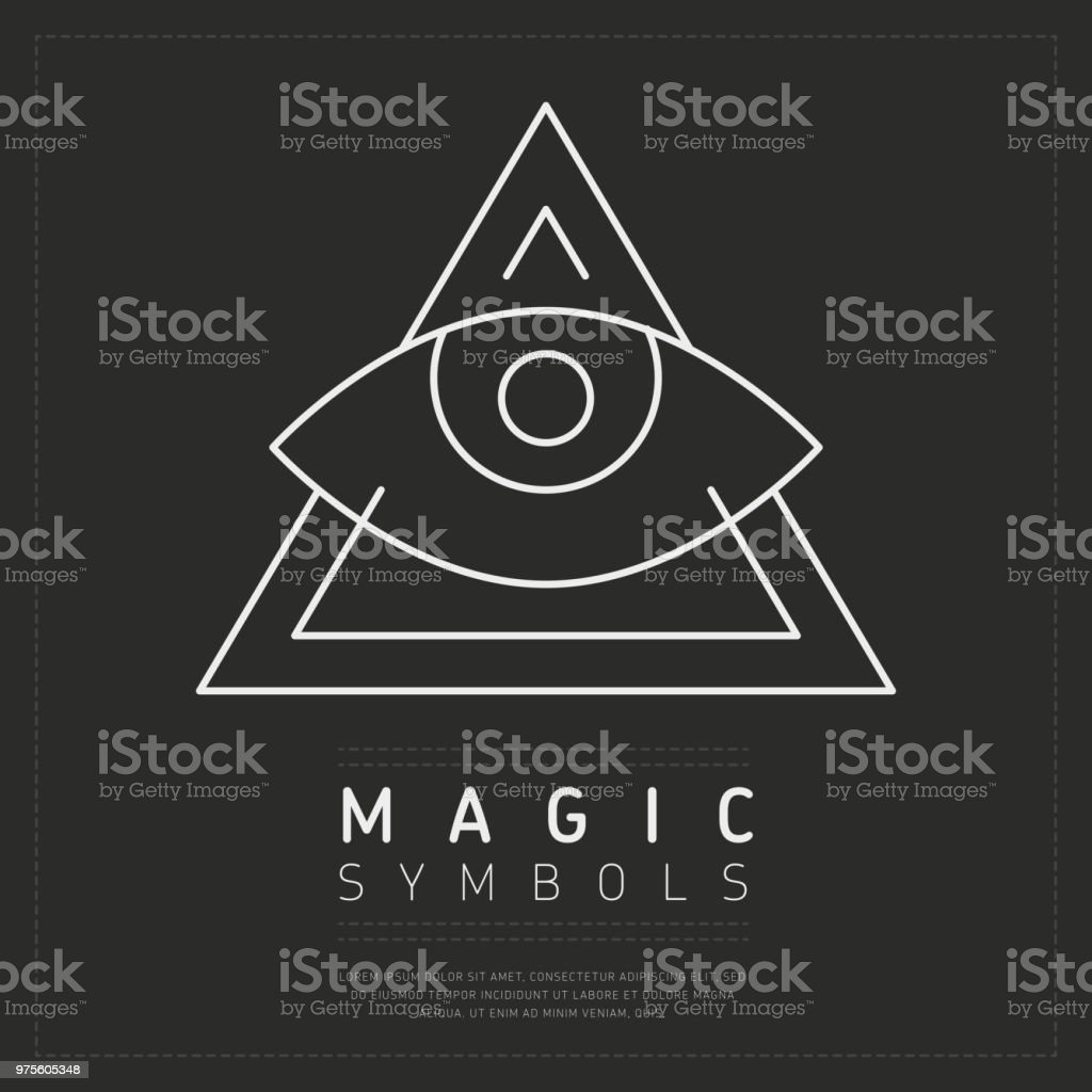 Ornamental triangle magic symbol