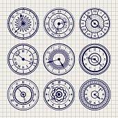 Ornamental watches ball pen sketch set