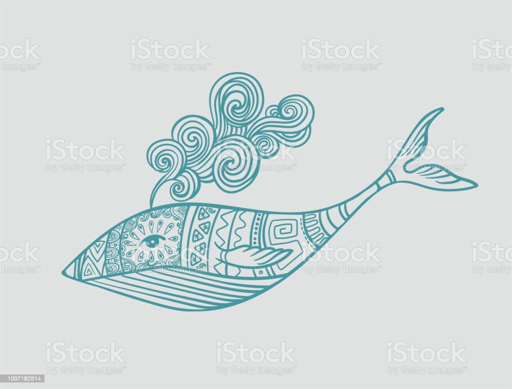 Baleia ornamental em testes padrões - ilustração de arte em vetor