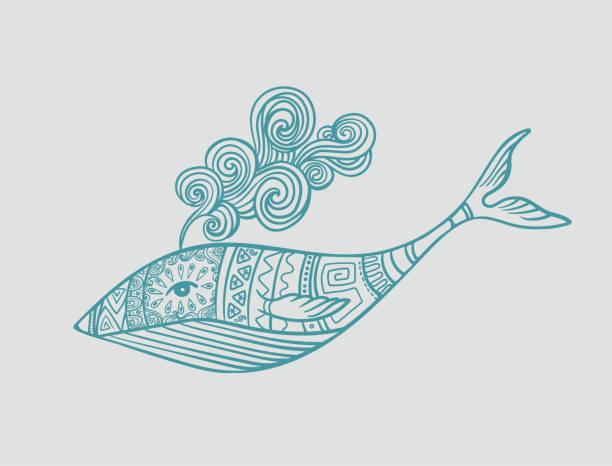 ilustrações, clipart, desenhos animados e ícones de baleia ornamental em testes padrões - fontes de tatuagem
