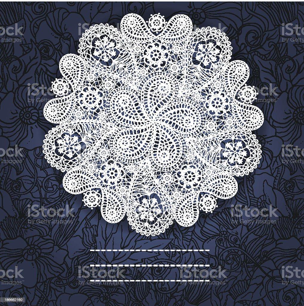 Ilustración de Invierno Decorativa Dibujadas A Mano Encaje Copo De ...
