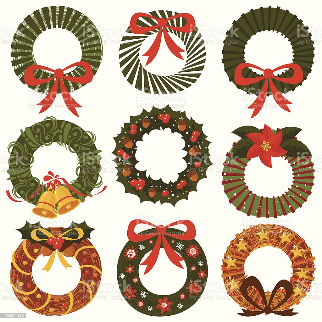 Ornamental Wreath collection Set containing 9 different ornamental wreaths. Acorn stock vector
