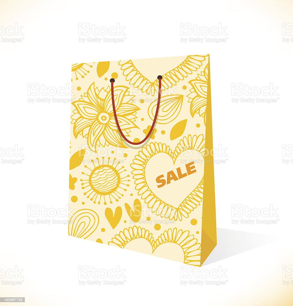 Ornamental yellow paper-bag royalty-free stock vector art