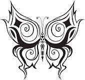 Ornamented abstract silhouette butterfly