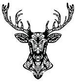 Ornamented deer hand drawn vector illustration. Ethnic animal tattoo.