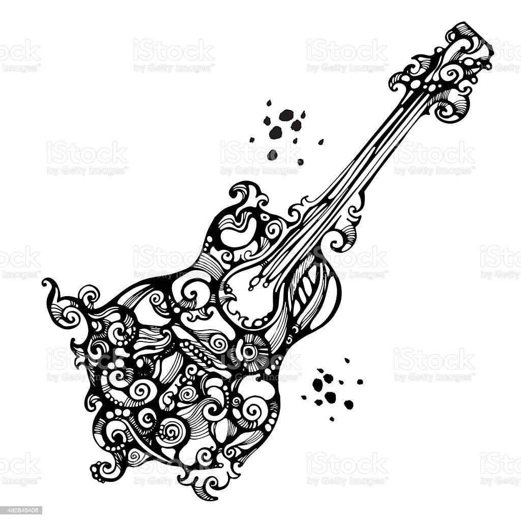 Decores Dans Le Style De Tatouage De La Guitare Acoustique