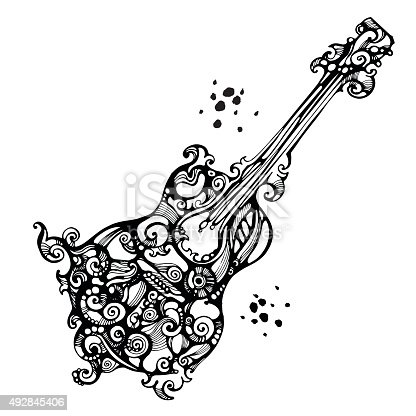 Black ornate acoustics guitar in tattoo style on the white background. Goos for music design concepts.