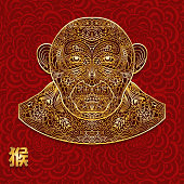 Ornate background with golden monkey head. Chinese hieroglyphs is translated as a monkey. Red seamless Backdrop. It can be used for greeting cards, invitations, covers or prints on clothes. Vector illustration