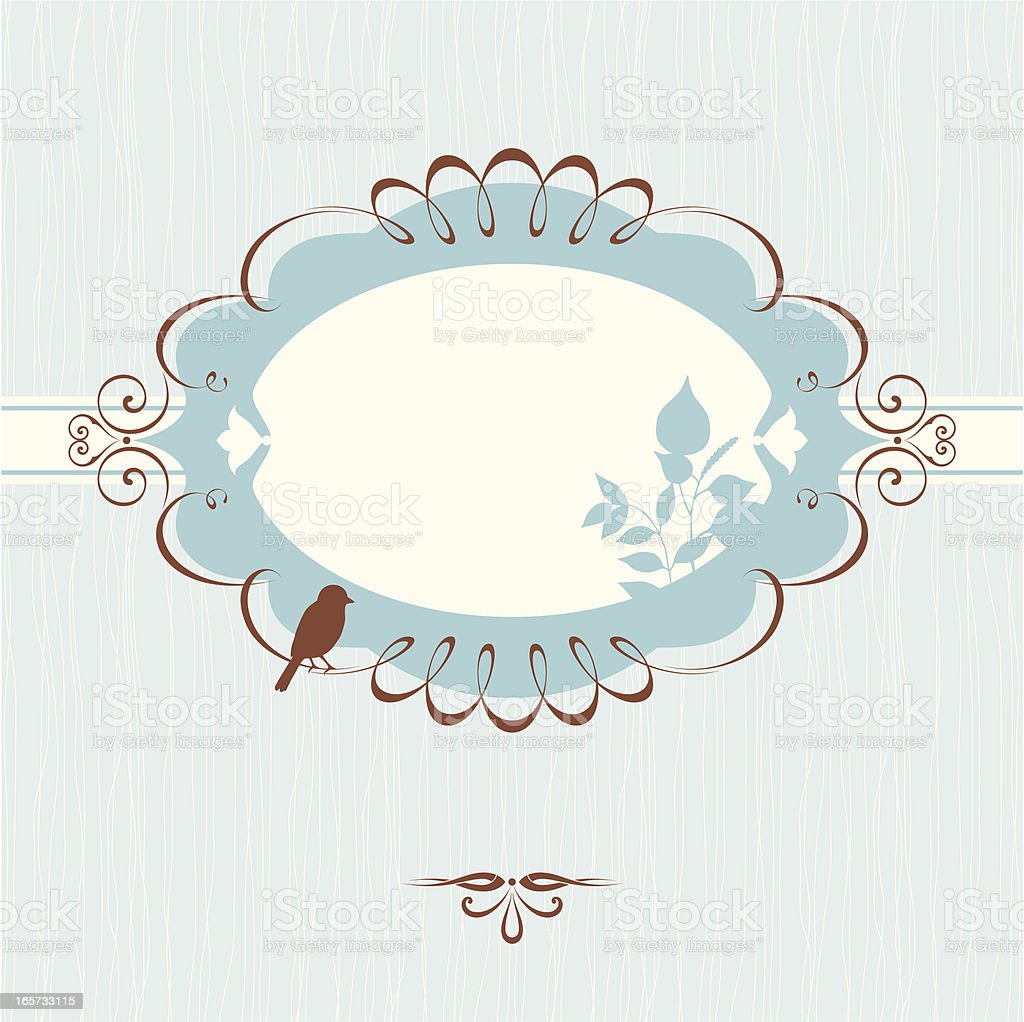 Ornate Banner Floral Blue royalty-free stock vector art