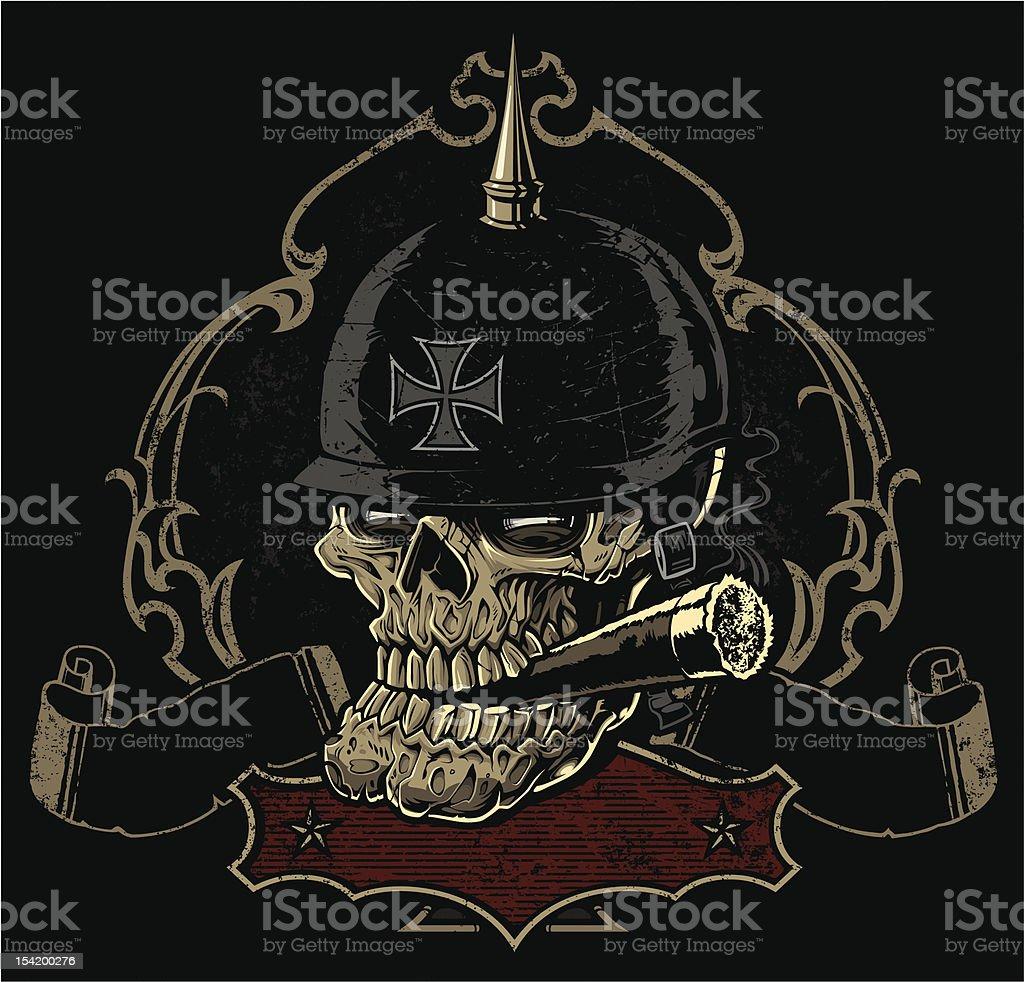 Ornate Biker Skull Rockabilly Crest vector art illustration
