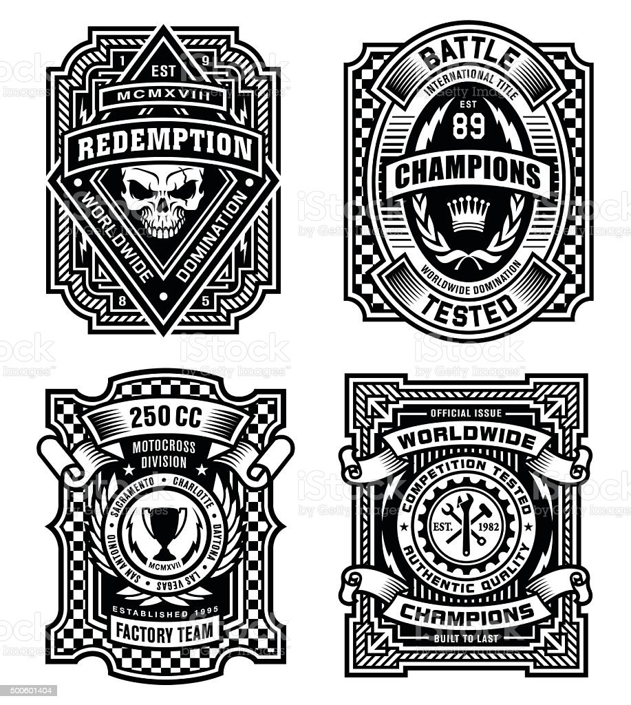 Ornate black and white emblem graphic design set