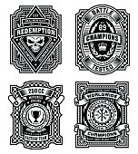 Ornate black and white emblem graphics.