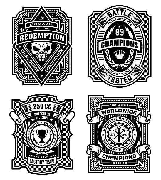 illustrations, cliparts, dessins animés et icônes de emblème décoratif noir et blanc graphique ensemble de - moto sport