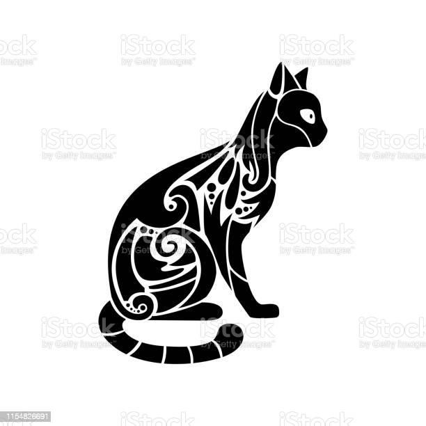 Ornate black cat silhouette decorative vector illustration vector id1154826691?b=1&k=6&m=1154826691&s=612x612&h=elwo84otkrpxzgju3e98umevmx80w9mmyjjejvtgg0g=