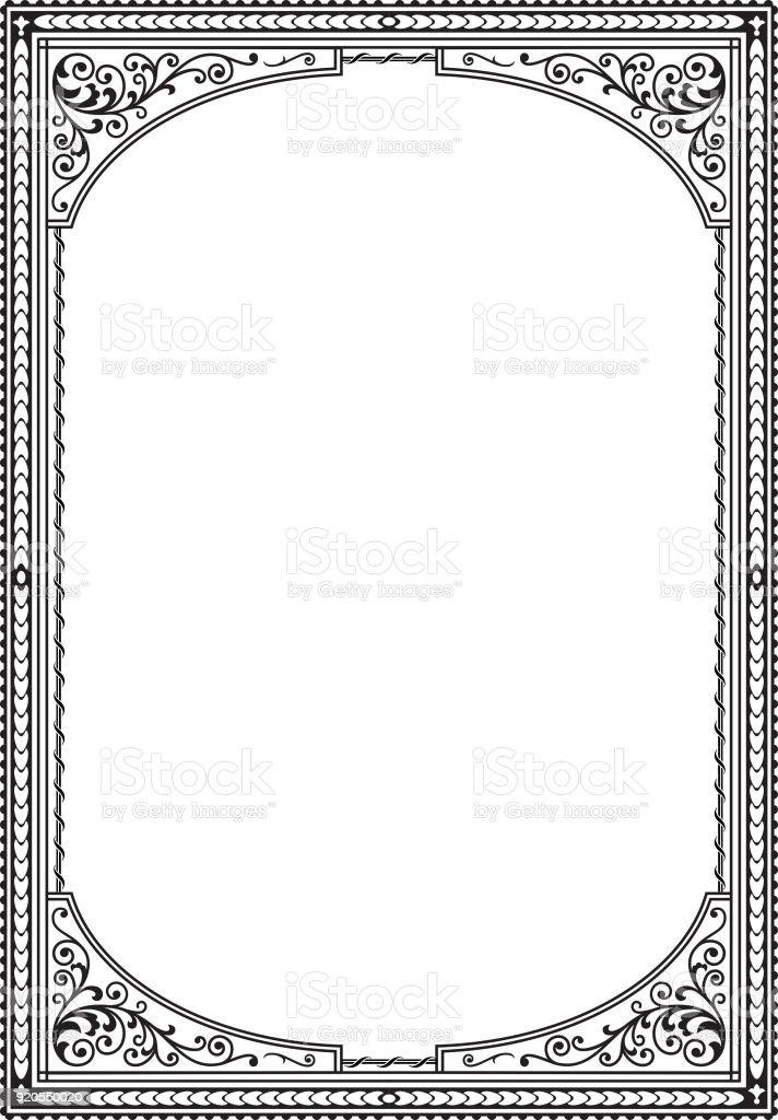Verzierten Schwarzen Rechteckigen Rahmen A4proportionen Abdeckung ...