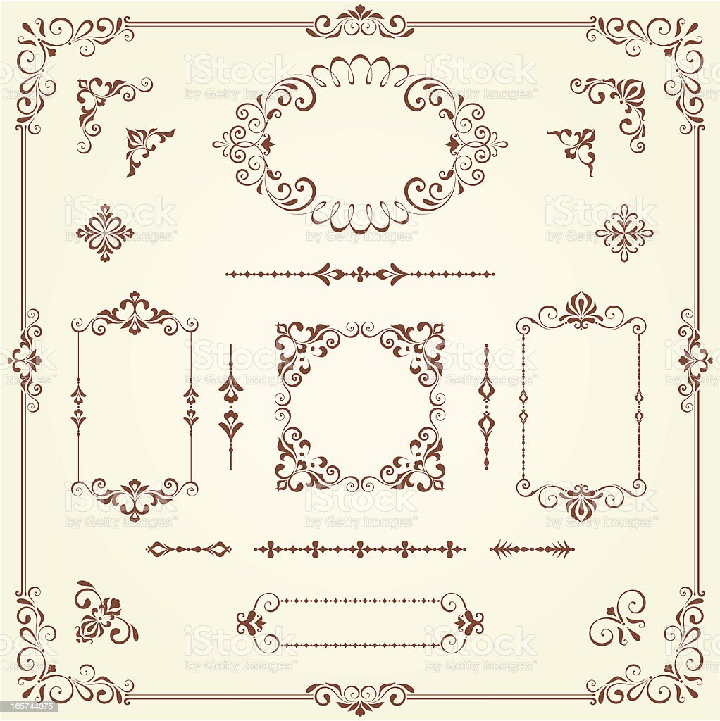 Ornate Borders and Scrolls royalty-free stock vector art