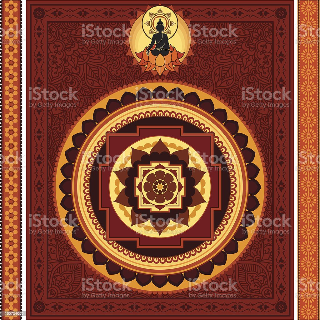 Ornate Buddha Mandala vector art illustration