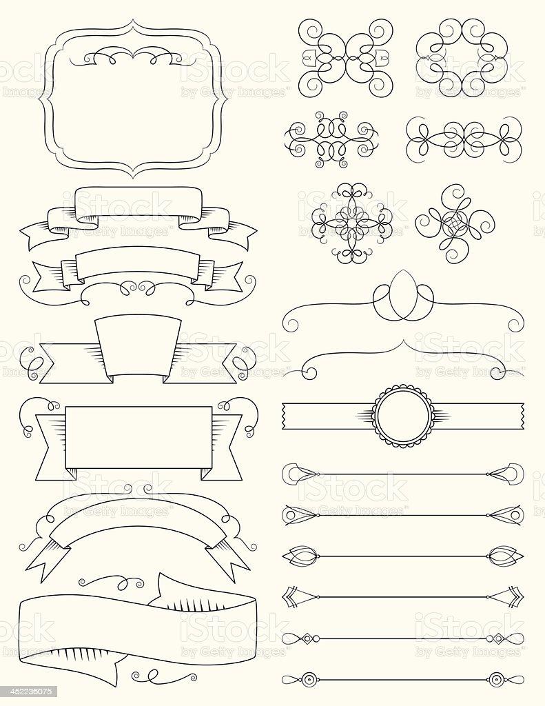 Ornate calligraphy design elements vector art illustration
