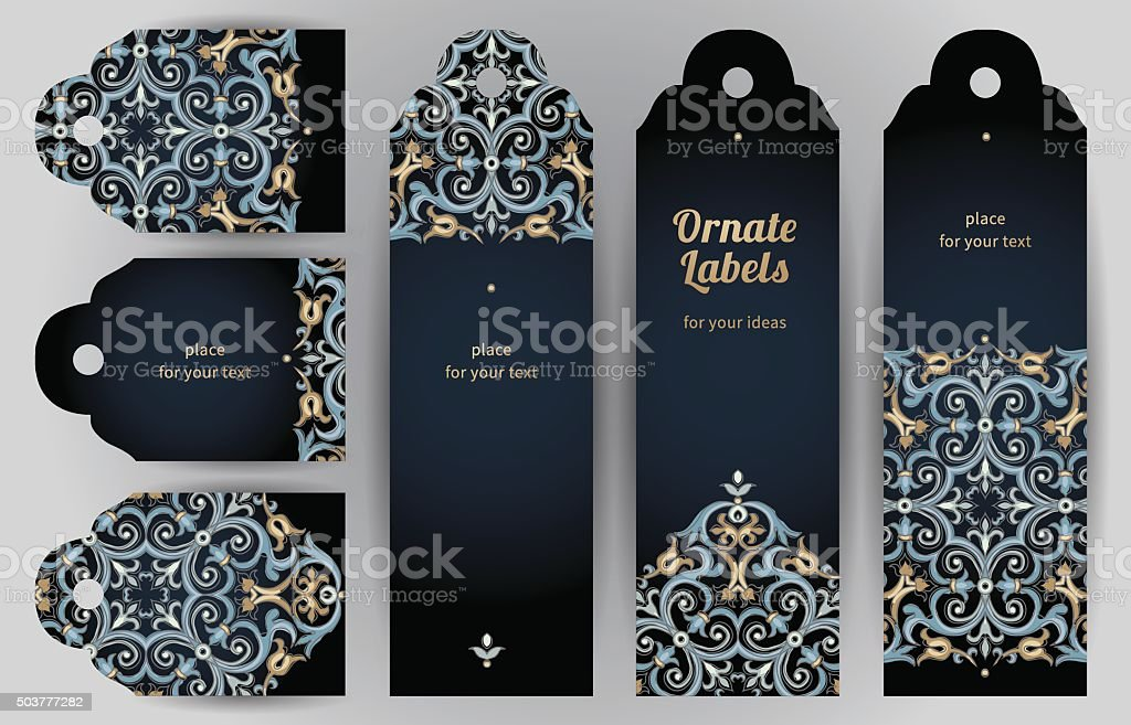 Ornate cards in oriental style. vector art illustration