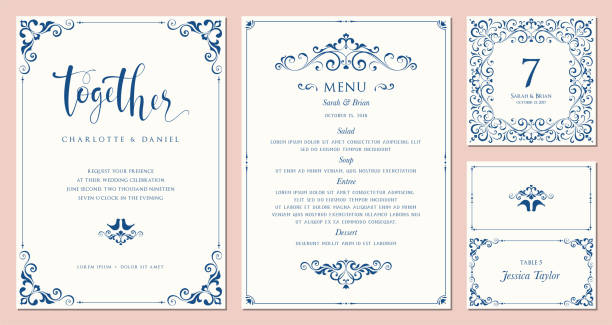 illustrazioni stock, clip art, cartoni animati e icone di tendenza di ornate cards templates_01 - matrimonio