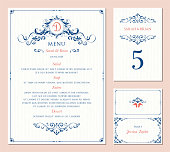 Ornate wedding table number, menu and place card. Swirl floral template. Classic vintage design. Vector illustration.