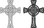 Celtic cross in black on white background. The ornate is based on the traditional Celtic cross shape with a circle in the crossing centre and the structure of an endless knot. The design is illustrated as line work and as a black and white tattoo version.