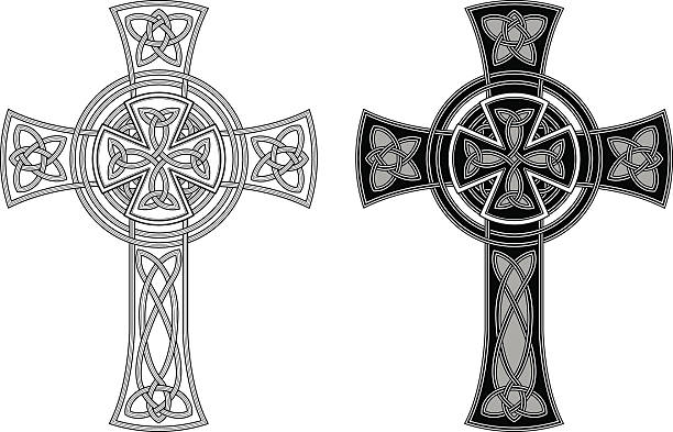 ornate celtic cross (knotted cross variation n° 3) - celtic tattoos stock illustrations, clip art, cartoons, & icons