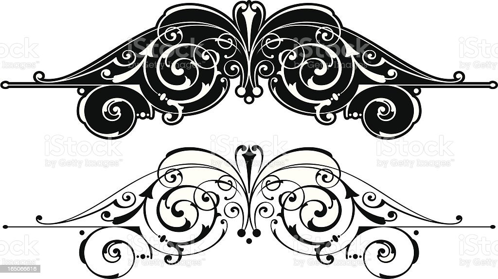 Ornate Central Scroll Design royalty-free stock vector art