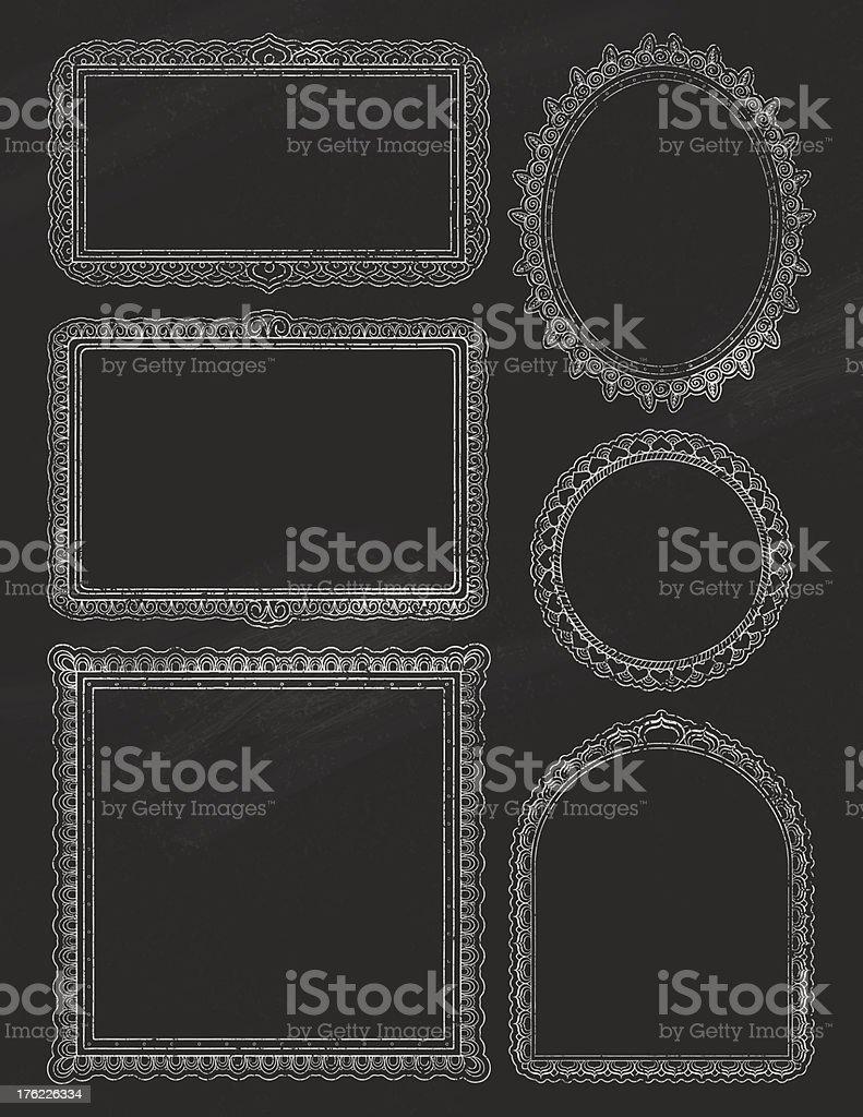 Ornate ChalkBoard Frames Two vector art illustration