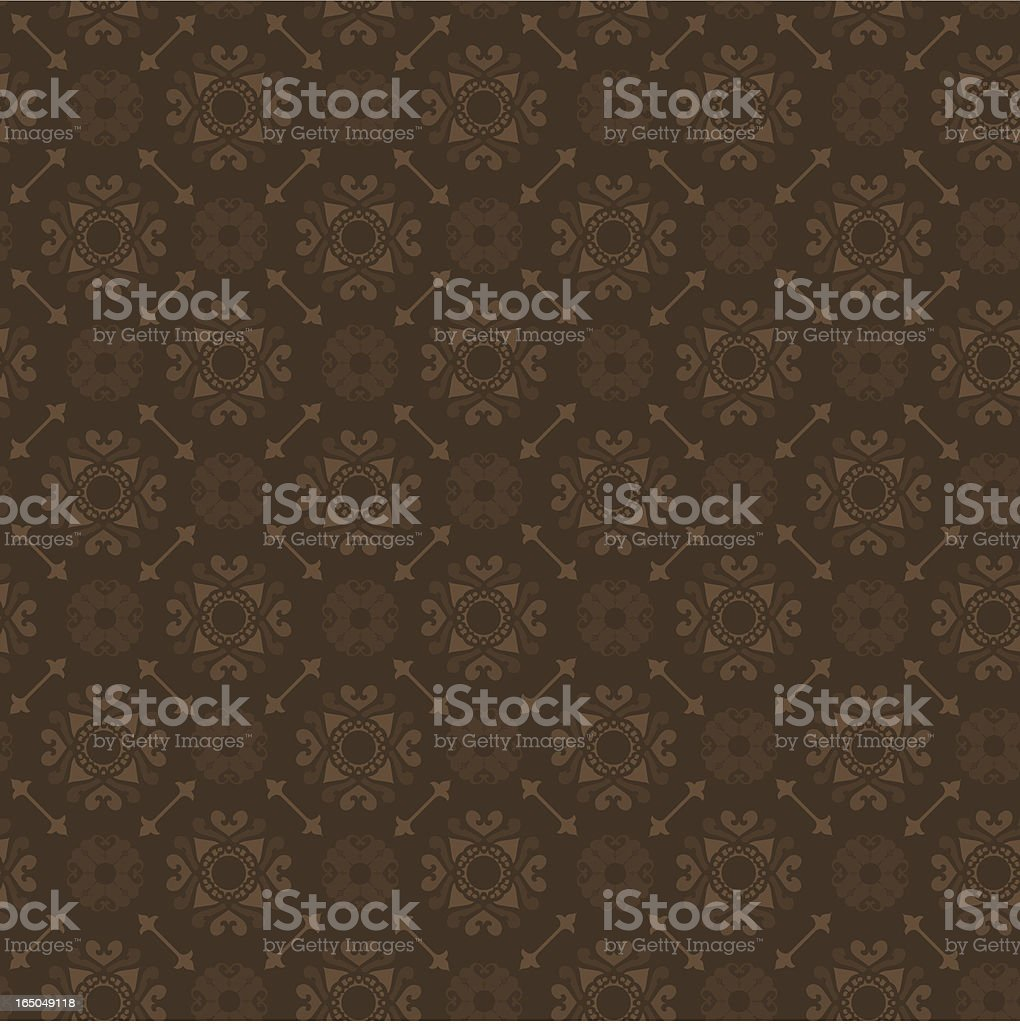 Ornate chocolate brown wallpaper with circular motifs royalty-free stock vector art