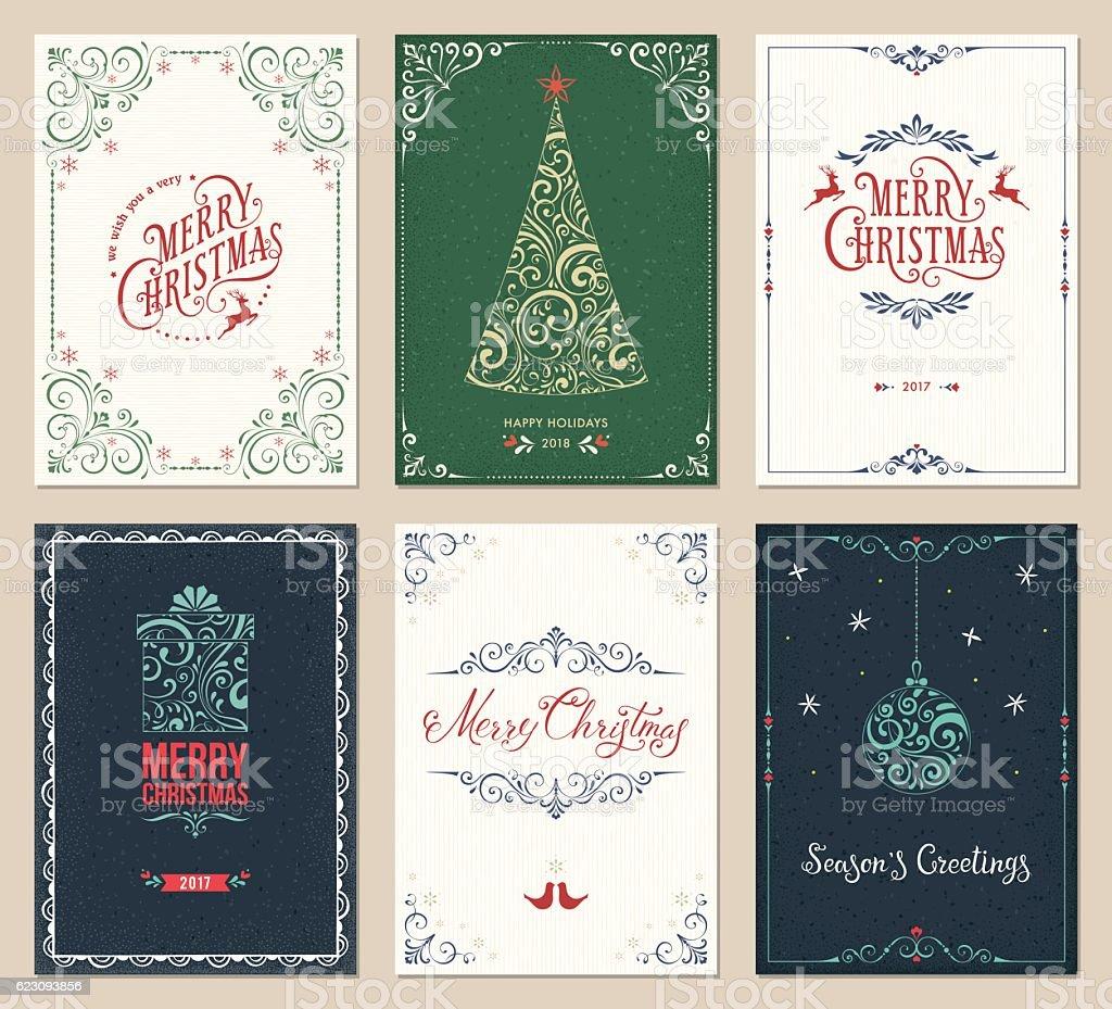 Ornate Christmas Greeting Cards Set ornate christmas greeting cards set - immagini vettoriali stock e altre immagini di albero royalty-free