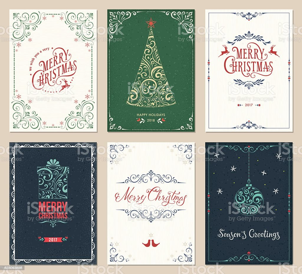 Ornate Christmas Greeting Cards Set vektör sanat illüstrasyonu