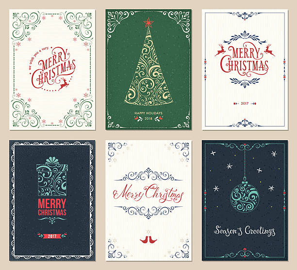 ornate christmas greeting cards set - holiday stock illustrations, clip art, cartoons, & icons
