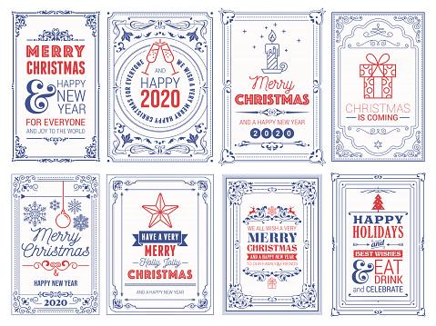 Ornate Christmas Greeting Cards stock illustration