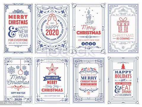 Ornate Christmas Greeting Cards stock illustration