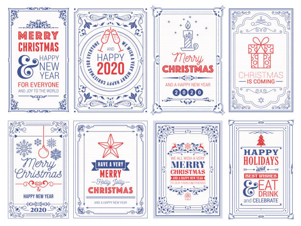 ilustrações de stock, clip art, desenhos animados e ícones de ornate christmas greeting cards stock illustration - christmas card
