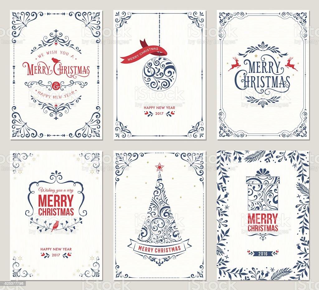 Ornate Christmas Greeting Cards ornate christmas greeting cards - immagini vettoriali stock e altre immagini di albero royalty-free