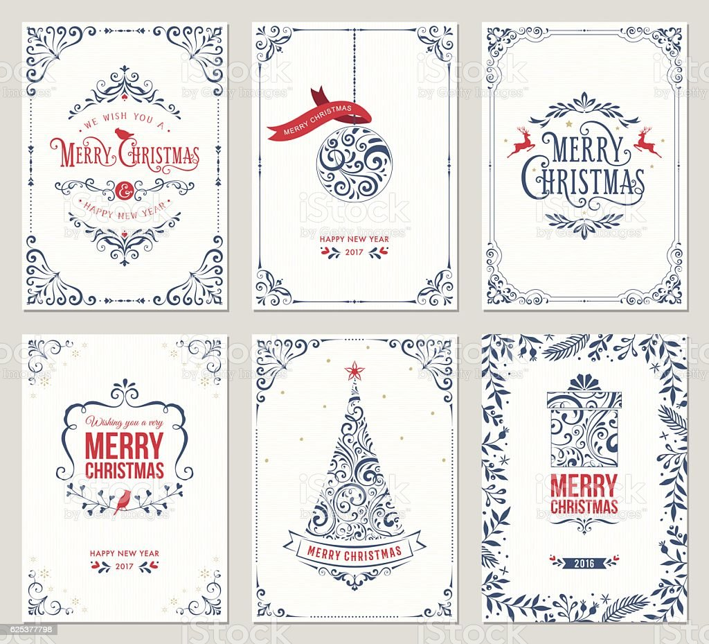 Ornate Christmas Greeting Cards vektör sanat illüstrasyonu