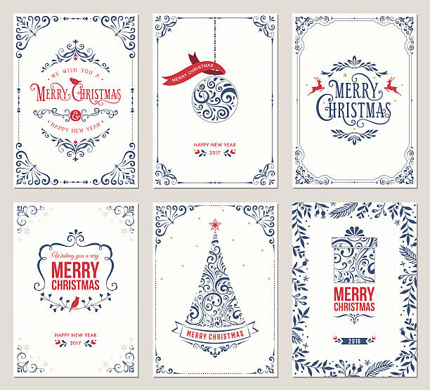 ornate christmas greeting cards - retro and vintage frames stock illustrations, clip art, cartoons, & icons