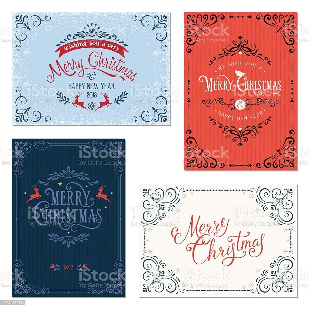 Ornate Christmas Greeting Cards vector art illustration