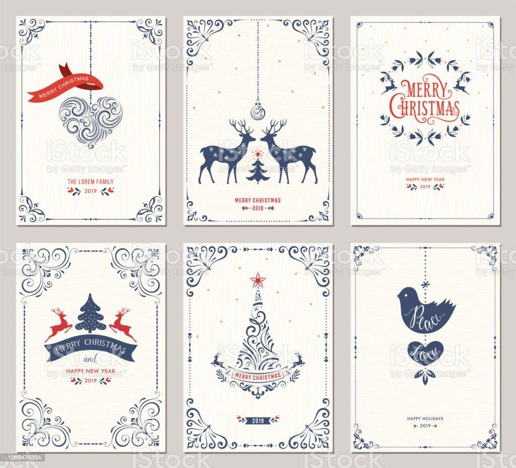 Cards_01 de saudação de Natal ornamentadas - Vetor de Azul escuro royalty-free